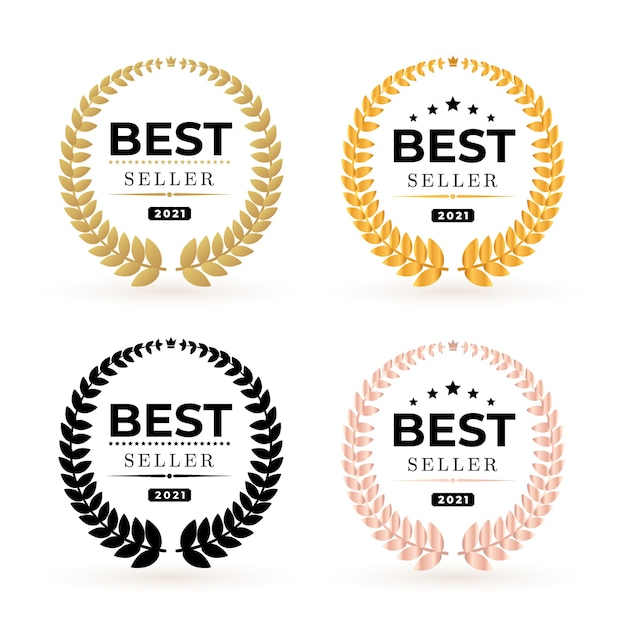 Set awards bestseller badge-logo. gouden en zwarte winnaar bestseller illustratie. Premium Vector