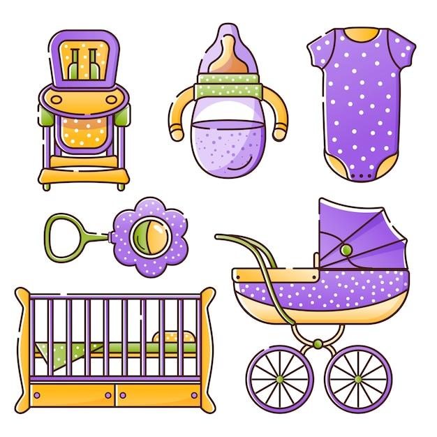 Set babyaccessoires voor de pasgeborene Premium Vector