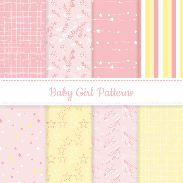 Set babymeisje roze en gele bewerkbare patronen Gratis Vector