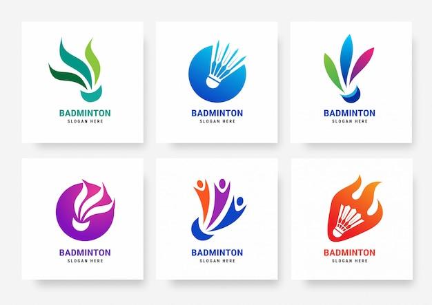 Set badminton logo sjablonen Premium Vector