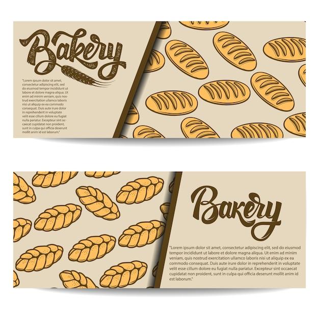 Set bakkerij banner sjablonen op witte achtergrond. illustratie Premium Vector