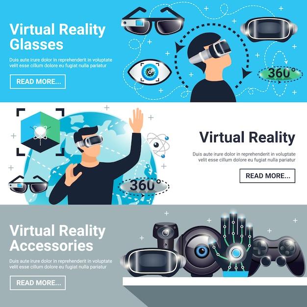 Set banners voor virtuele realiteit Gratis Vector