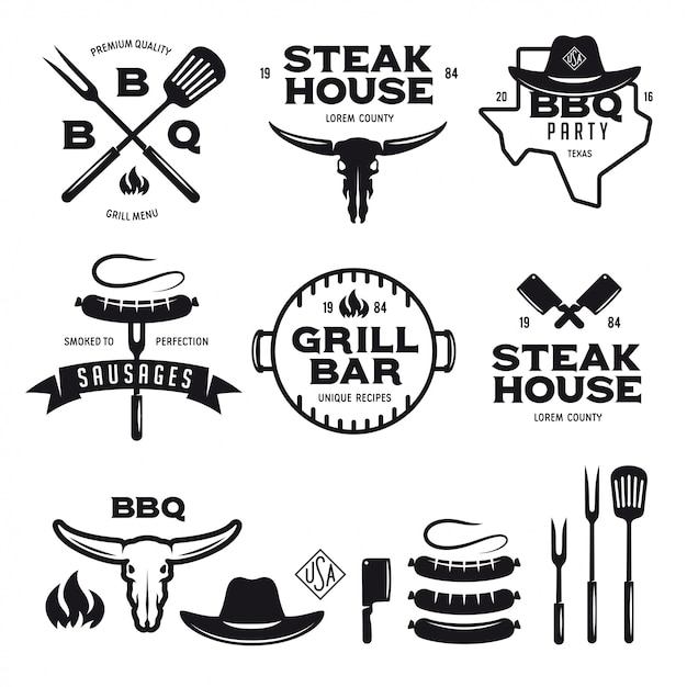 Set barbecue steak house grill bar etiketten badges emblemen en ontwerpelementen Premium Vector