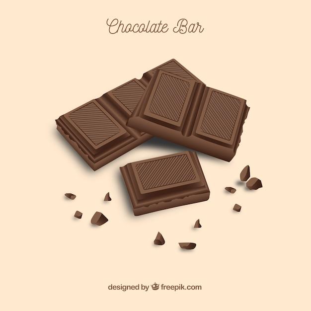 Set bars en stukken met verschillende chocolaatjes Gratis Vector