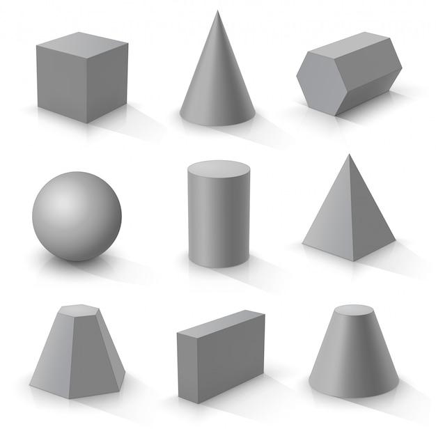 Set basis 3d-vormen, grijze geometrische lichamen op een witte achtergrond Premium Vector