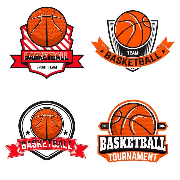 Set basketbal etiketten en logo's en elementen voor basketbalteams, toernooien, kampioenschappen op witte achtergrond. ontwerpelement in. Premium Vector