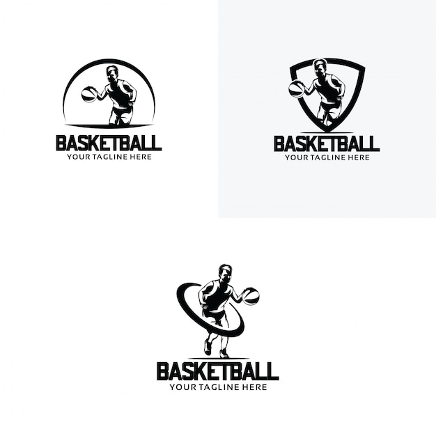 Set basketbal logo ontwerpsjablonen Premium Vector