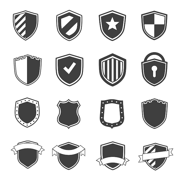 Set beveiligingslabels zwarte kleur en vlakke stijl Premium Vector
