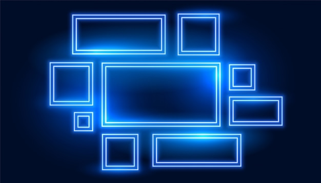 Set blauwe neon frames in vele maten Gratis Vector