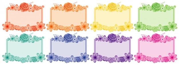 Set bloem frames in verschillende kleuren Premium Vector