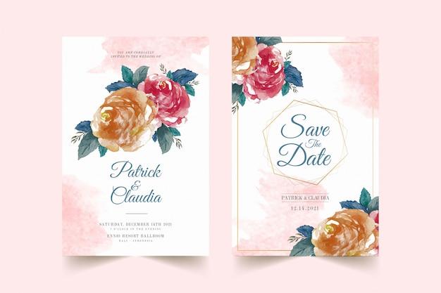 Set bloemen bruiloft uitnodiging kaartsjabloon met roze bloem en bladeren premium vector Premium Vector