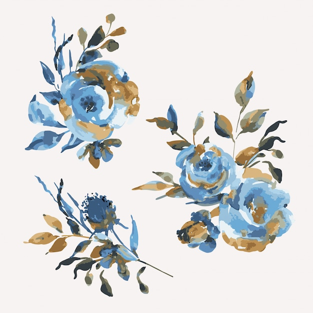 Set boeketten turquoise rozen, wilde bloemen, vintage designelementen. natuurlijke blauwe bloemen Premium Vector