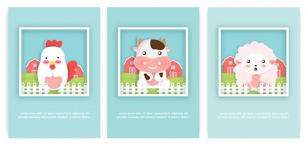 Set boerderij dieren kaarten voor verjaardagskaart en wenskaart. Premium Vector