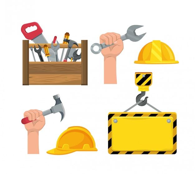 Set bouwdoos gereedschap en hand met hamer Premium Vector