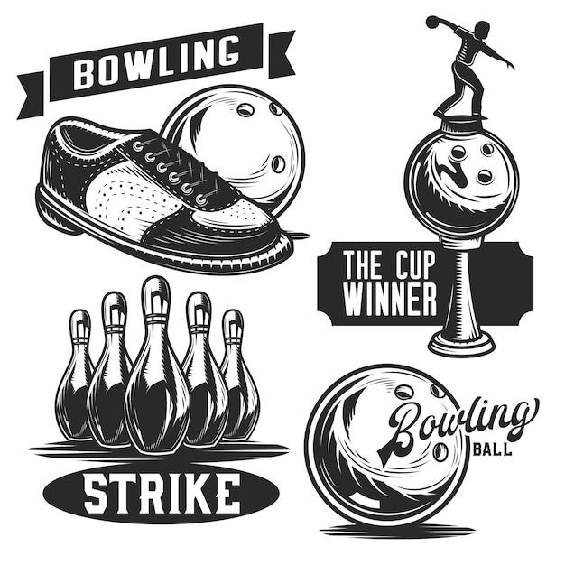 Set bowling emblemen, etiketten, insignes, logo's. Premium Vector