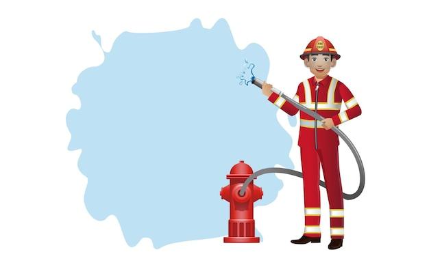 Set brandweerman met verschillende poses Premium Vector