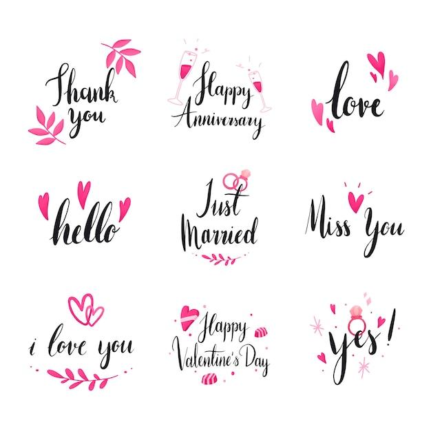 Set bruiloft en liefde typografie vectoren Gratis Vector
