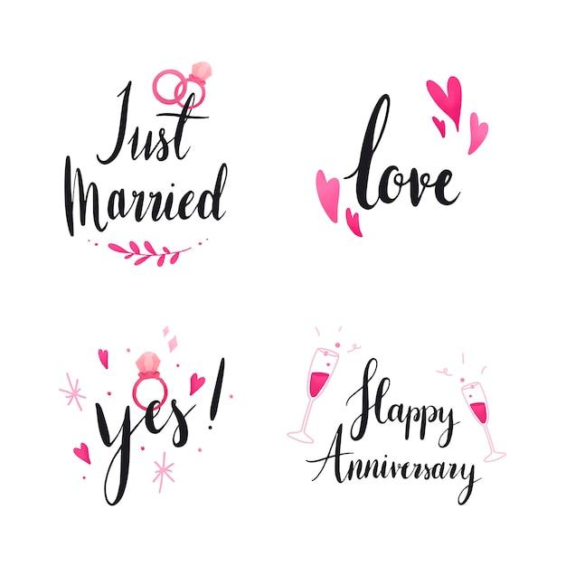 Set bruiloft en liefde typografie Gratis Vector