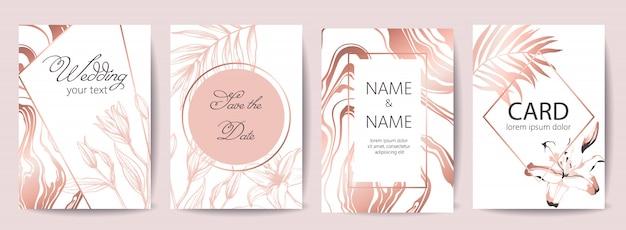 Set bruiloft feest kaarten met plaats voor tekst. bewaar de datum. tropische bloemen. witte en rose gouden kleuren Gratis Vector