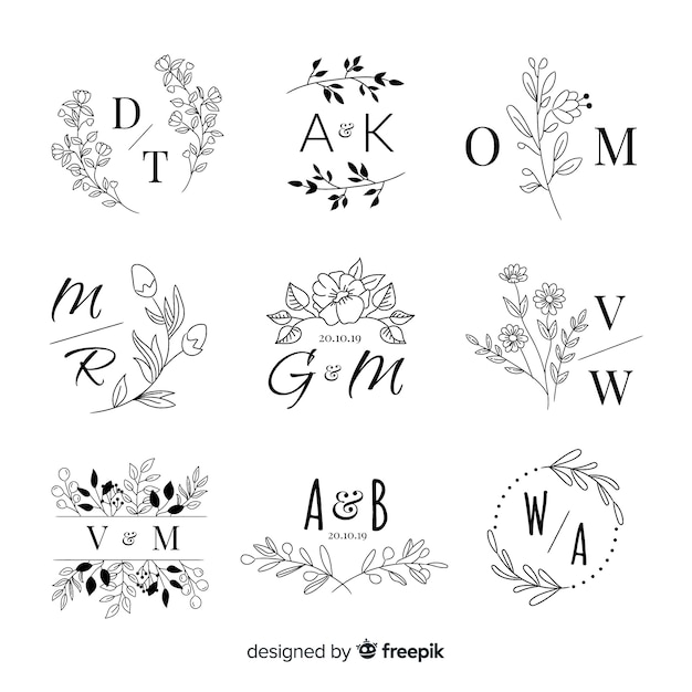 Set bruiloft monogram logo's Gratis Vector