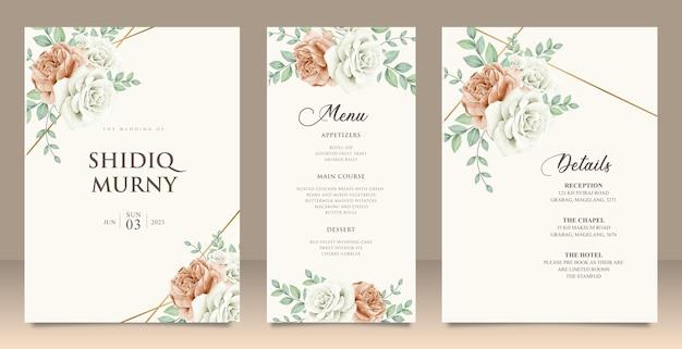 Set bruiloft uitnodiging floral menu details kaart ontwerp Premium Vector