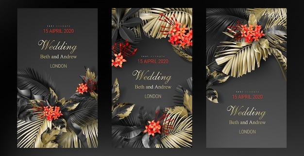 Set bruiloft uitnodiging kaartsjabloon met tropische zwart en goud bladeren Gratis Vector