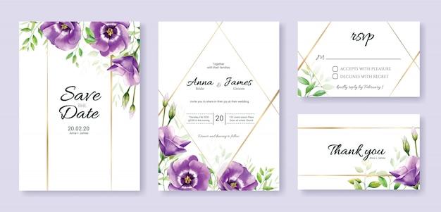 Set bruiloft uitnodiging kaartsjabloon. paarse bloem. Premium Vector