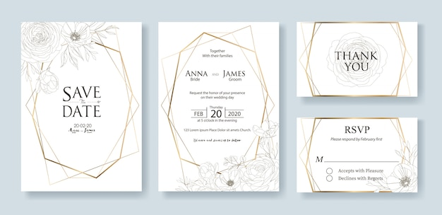 Set bruiloft uitnodiging kaartsjabloon. roos. Premium Vector