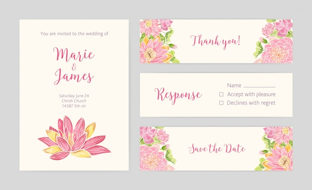 Set bruiloft uitnodiging, save the date-kaart, reactie en bedankje sjablonen Premium Vector