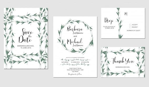 Set bruiloft uitnodiging sjabloon met bamboe plant decoratie Premium Vector