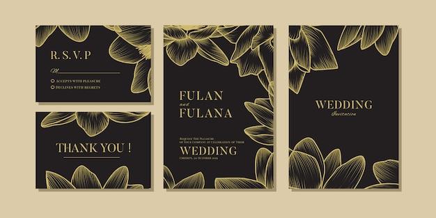 Set bruiloft uitnodiging vip bloemen en bloem romantische liefde sjabloon Premium Vector