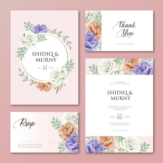 Set bruiloft uitnodigingskaart floral dank u rsvp kaart ontwerp Premium Vector