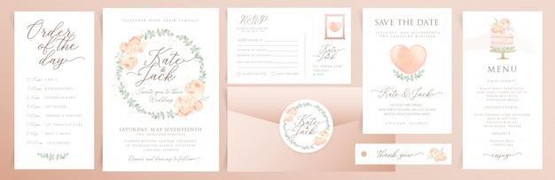 Set bruiloft uitnodigingskaarten met aquarel elementen Premium Vector