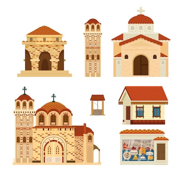 Set byzantijnse gebouwen. oude architectuur. Premium Vector
