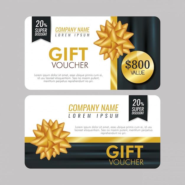 Set cadeaubon met speciale verkoop en strik Gratis Vector