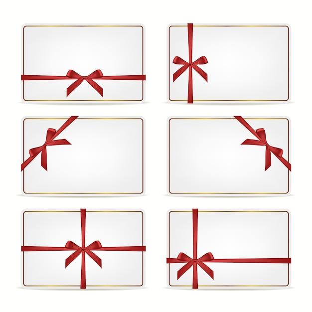 Set cadeaubonnen met linten. Premium Vector