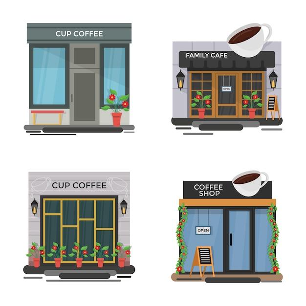 Set cafe illustraties Premium Vector