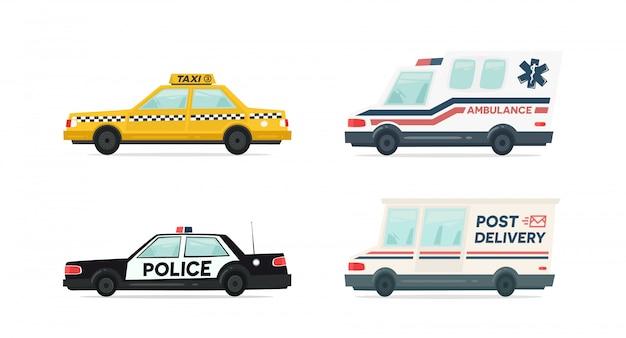 Set cartoon ambulance, politie, levering en gele taxi auto Premium Vector