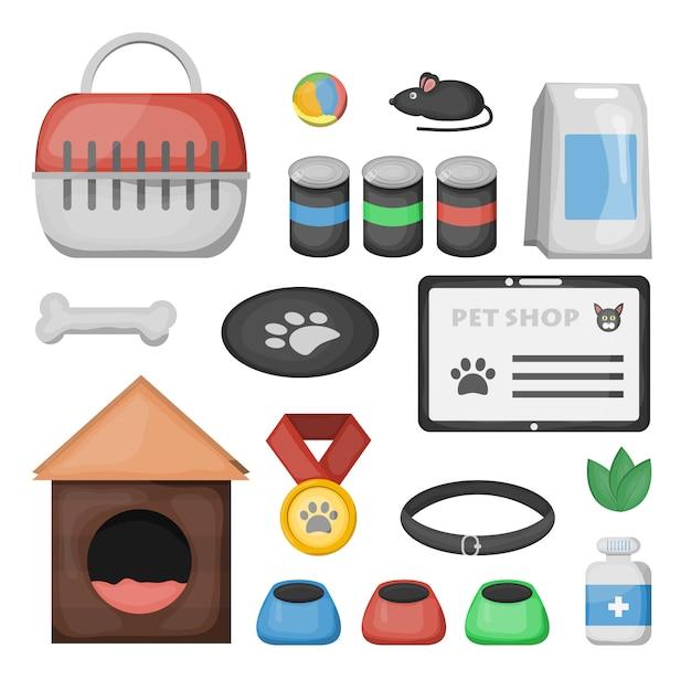 Set cartoon dierenwinkel accessoires en dierenarts apparatuur op de witte achtergrond. Premium Vector