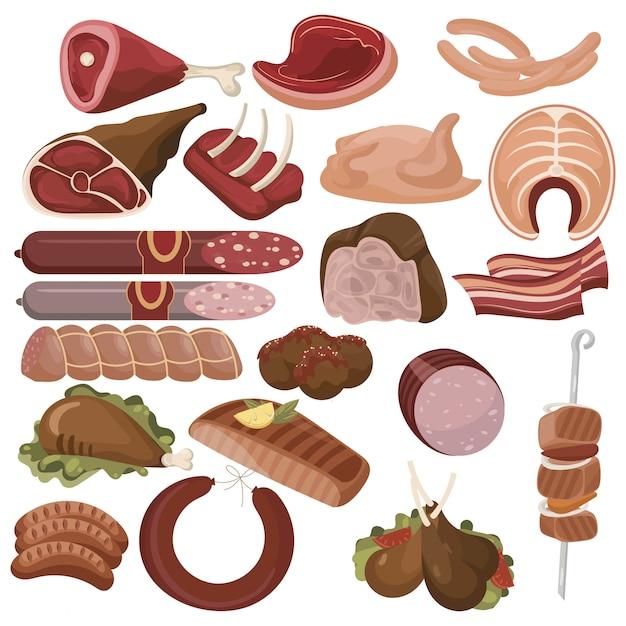 Set cartoon eten. collectie van gestileerde rauw vlees. gesneden assortiment van vers vlees. Premium Vector