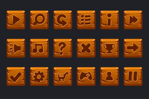 Set cartoon houten vierkante knoppen voor grafische gebruikersinterface gui Premium Vector