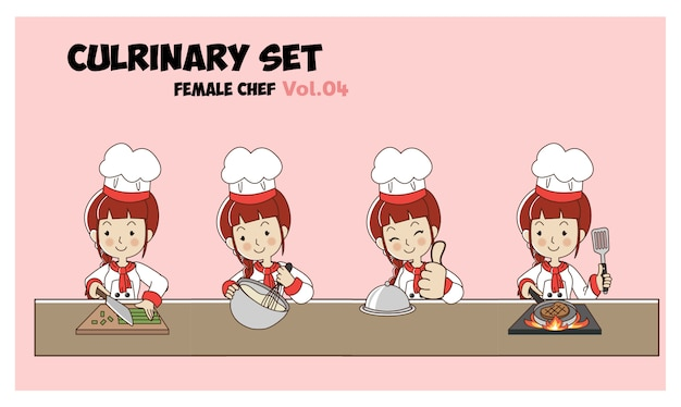 Set cartoon karakter illustratie culinaire, vrouwelijke chef-kok, koks koken.professionele chef-kok set. Premium Vector