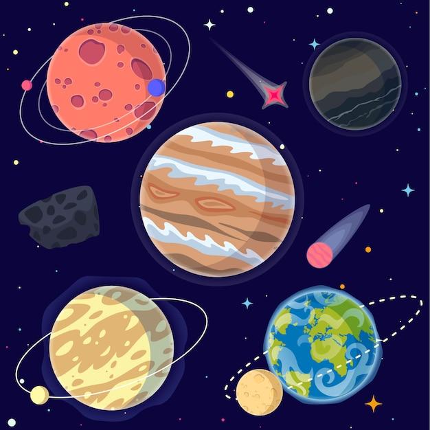 Set cartoon planeten en elementen van de ruimte. Premium Vector