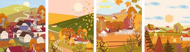 Set cartoon platte herfst seizoen dorp en stad Premium Vector