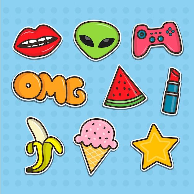 Set cartoon tiener stickers. platte lijn illustraties. patches-collectie Premium Vector