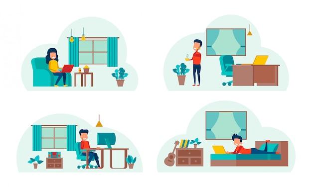 Set cartoon werken thuis Premium Vector