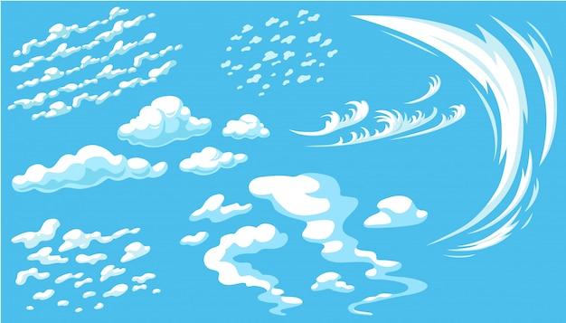 Set cartoon wolken in blauwe panoramahemel. Gratis Vector