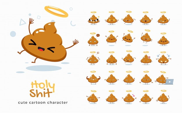 Set cartoonafbeeldingen van holy shit. illustratie. Premium Vector