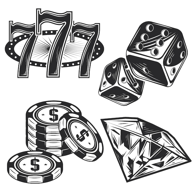 Set casino-elementen Gratis Vector