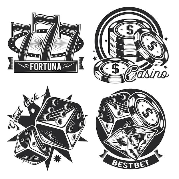 Set casino emblemen Gratis Vector